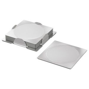 6 pack - Coaster, square, stainless steel